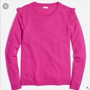 J. Crew hot pink sweater with ruffle detail